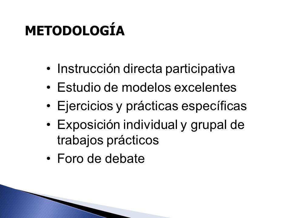 METODOLOGÍA Instrucción directa participativa. Estudio de modelos excelentes. Ejercicios y prácticas específicas.