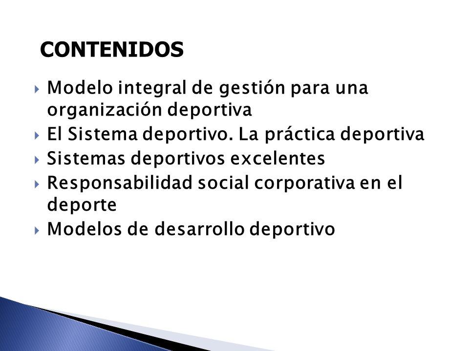 CONTENIDOS Modelo integral de gestión para una organización deportiva
