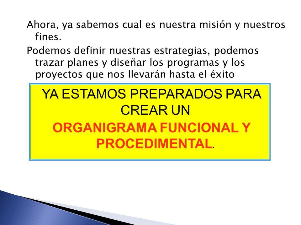 ORGANIGRAMA FUNCIONAL Y PROCEDIMENTAL.