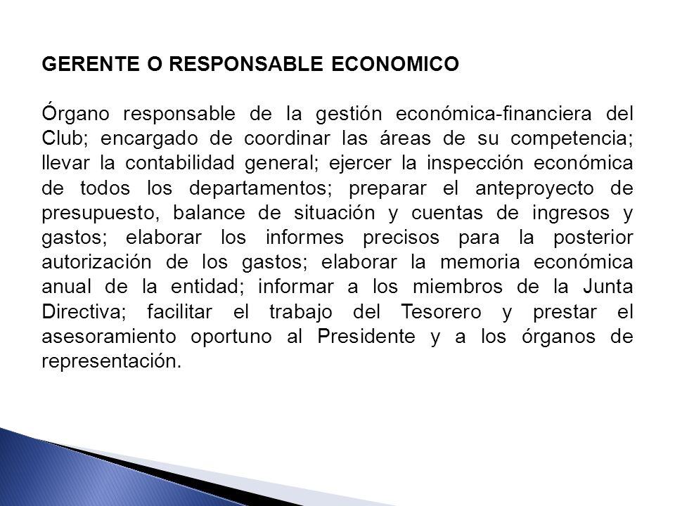 GERENTE O RESPONSABLE ECONOMICO