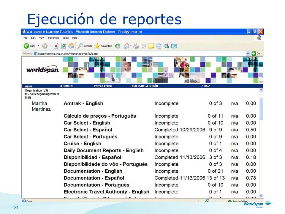 Ejecución de reportes