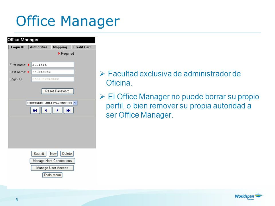 Office Manager Facultad exclusiva de administrador de Oficina.