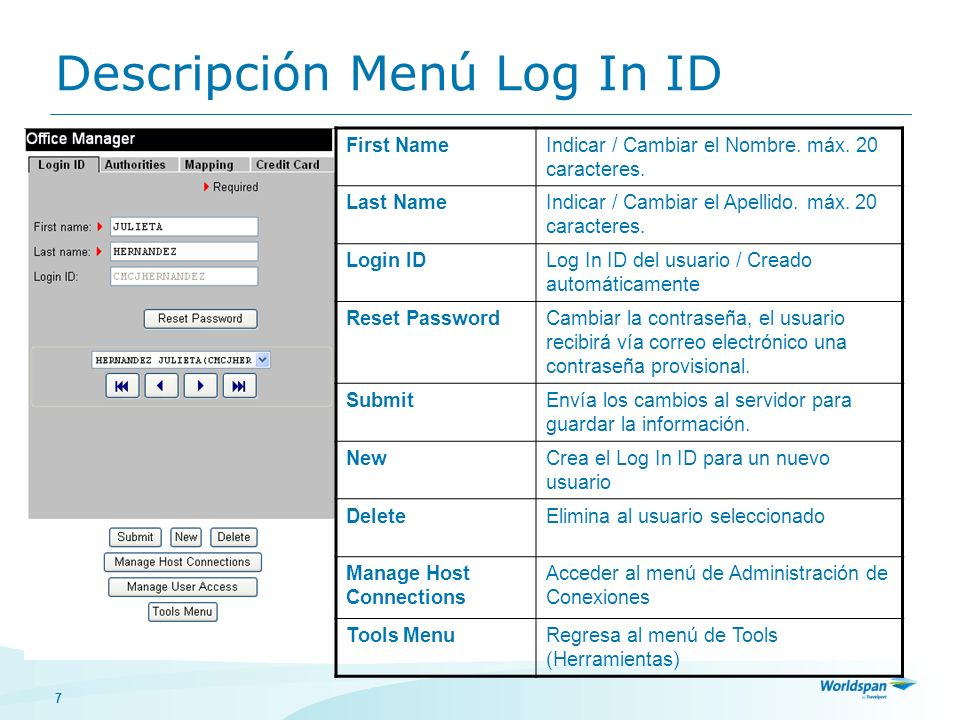 Descripción Menú Log In ID