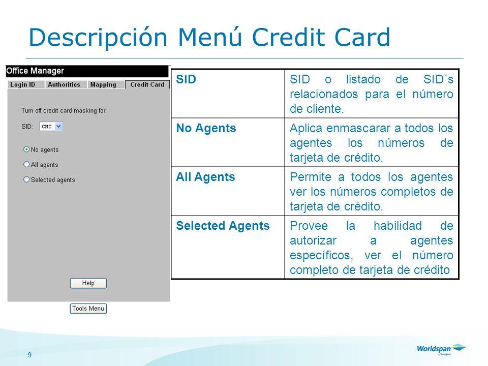 Descripción Menú Credit Card