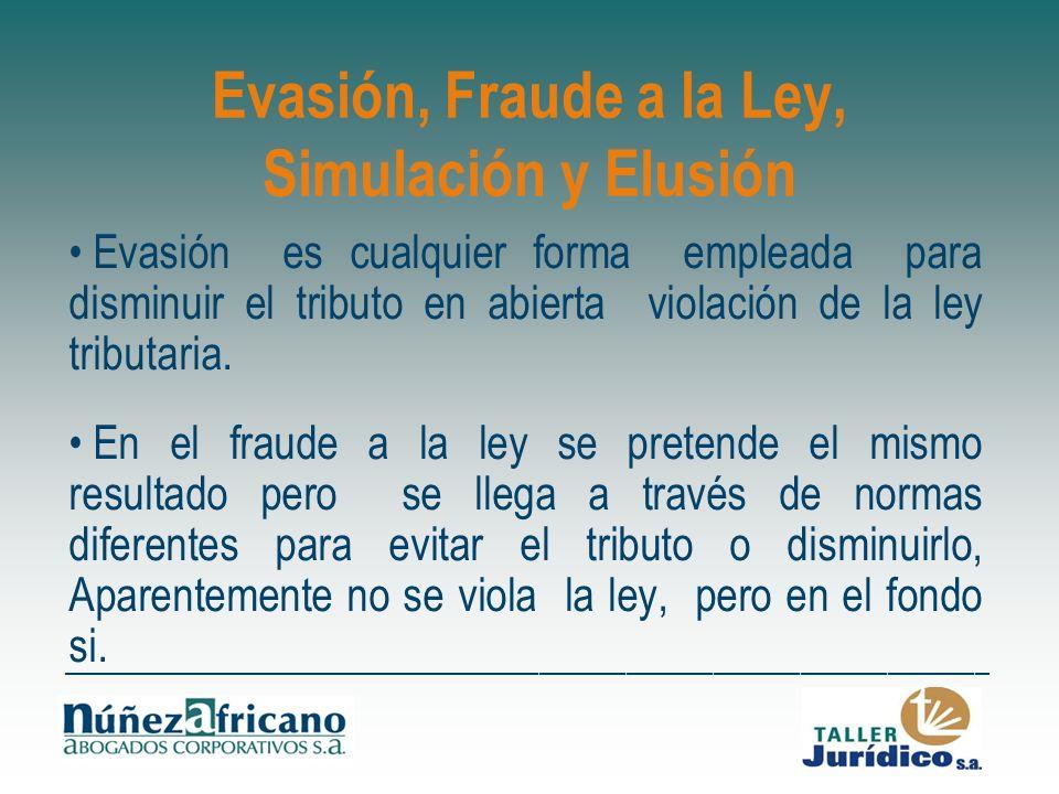 Evasión, Fraude a la Ley, Simulación y Elusión
