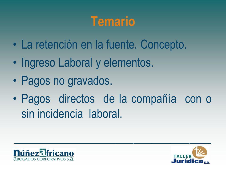 Temario La retención en la fuente. Concepto.