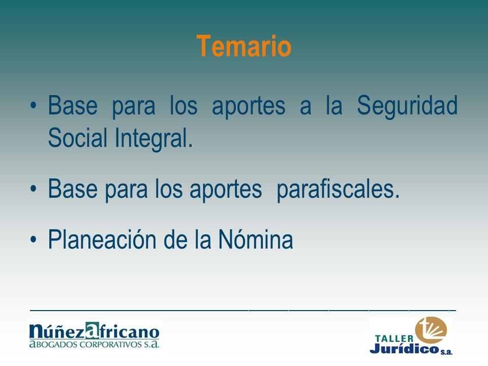 Temario Base para los aportes a la Seguridad Social Integral.