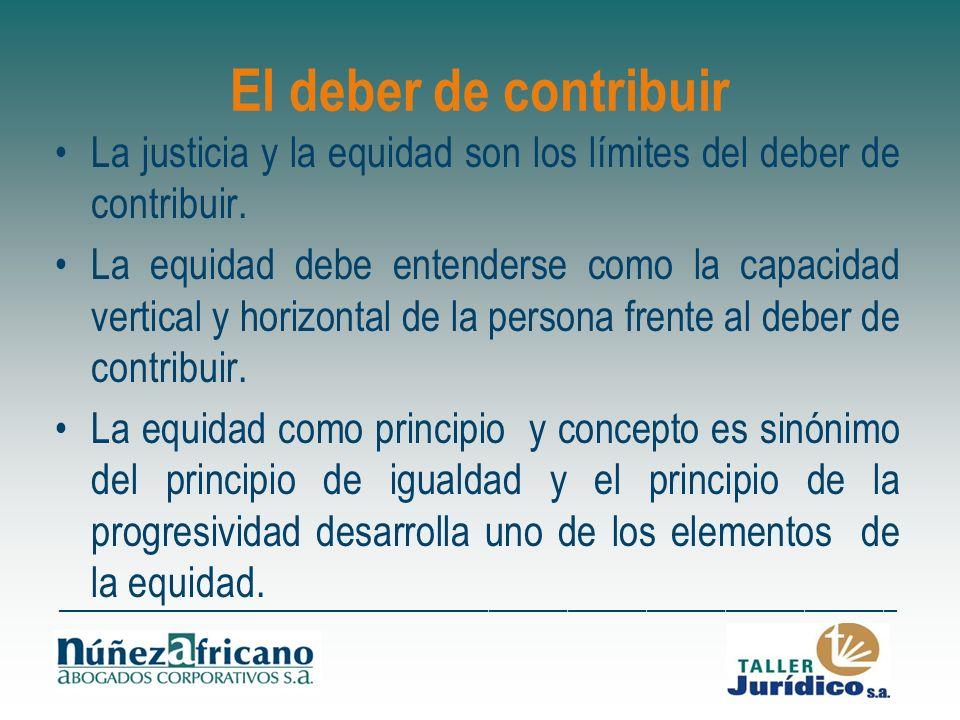 El deber de contribuir La justicia y la equidad son los límites del deber de contribuir.