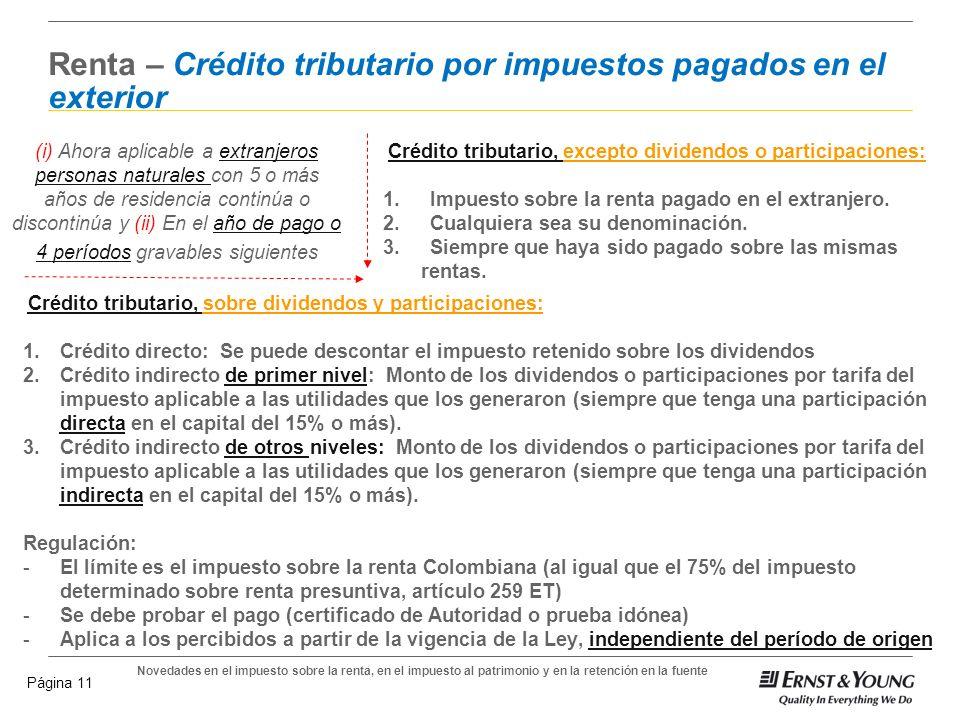 Renta – Crédito tributario por impuestos pagados en el exterior