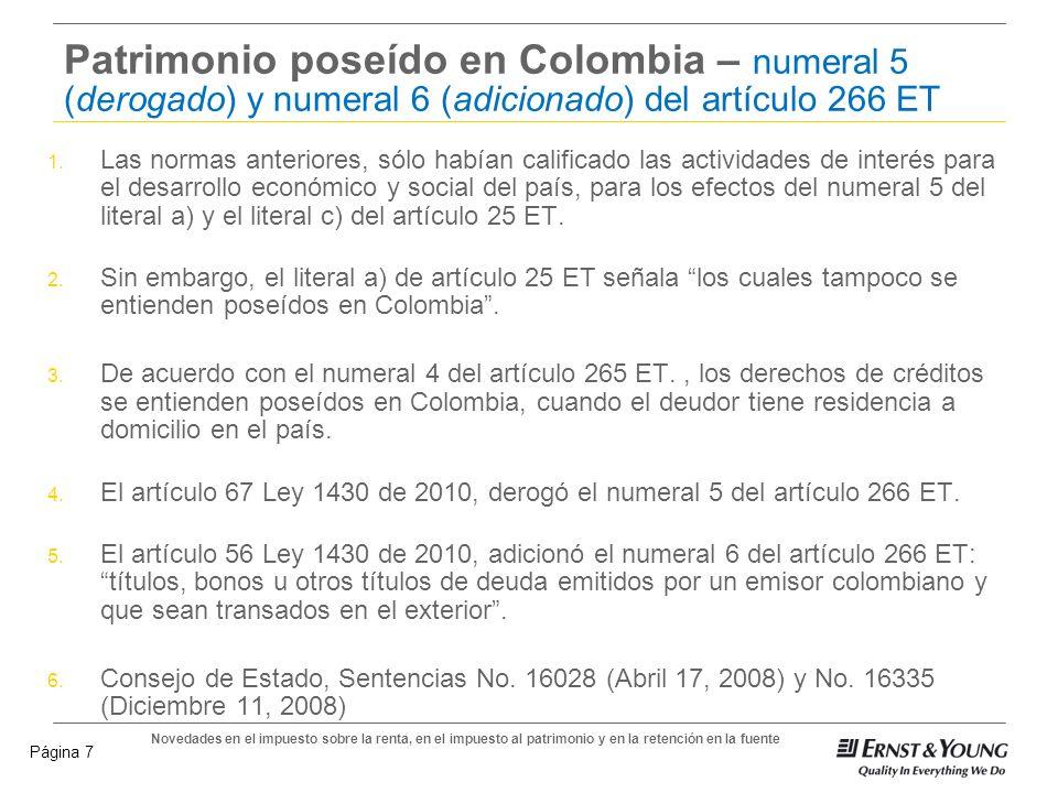 Patrimonio poseído en Colombia – numeral 5 (derogado) y numeral 6 (adicionado) del artículo 266 ET