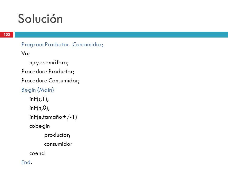 Solución Program Productor_Consumidor; Var n,e,s: semáforo;