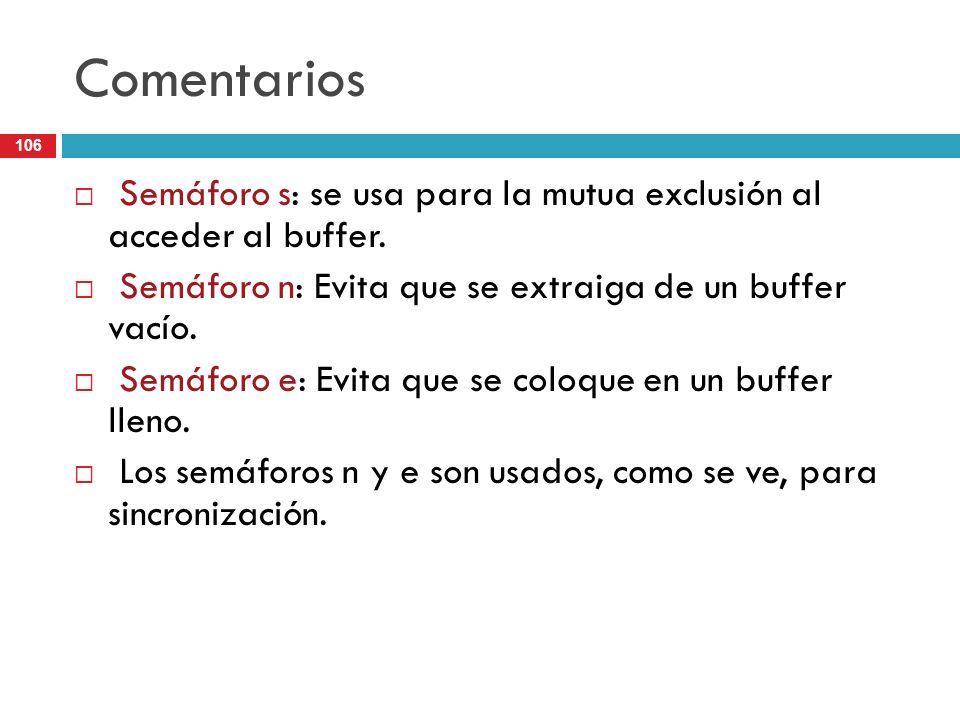 Comentarios Semáforo s: se usa para la mutua exclusión al acceder al buffer. Semáforo n: Evita que se extraiga de un buffer vacío.