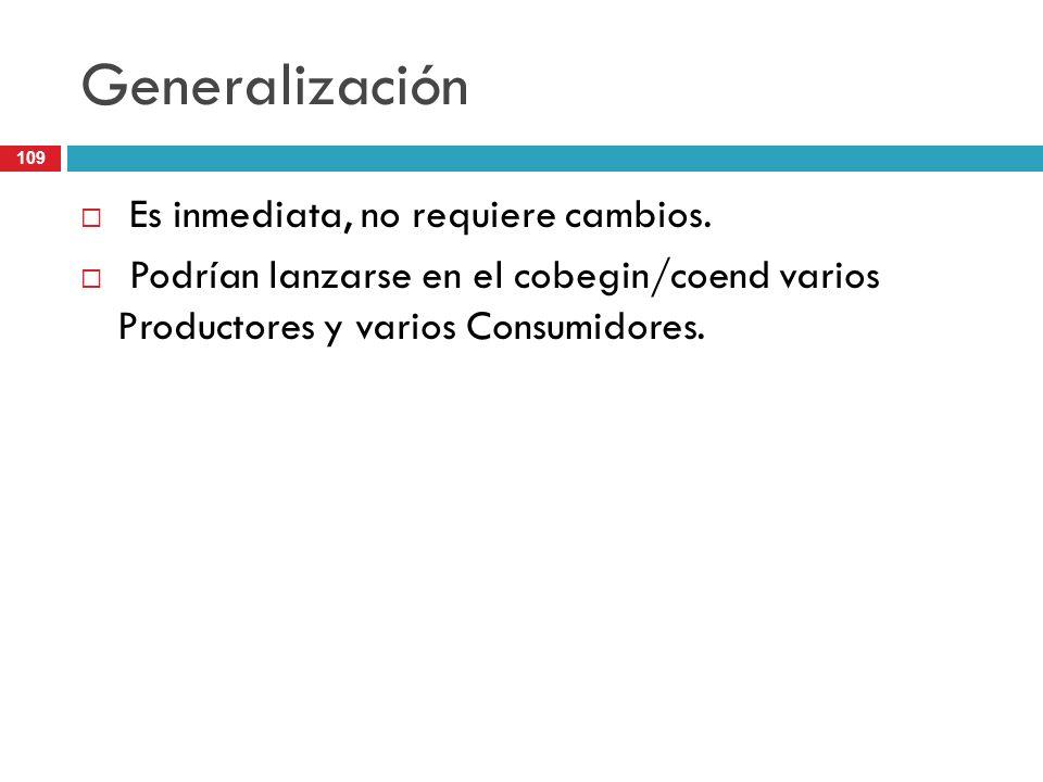 Generalización Es inmediata, no requiere cambios.