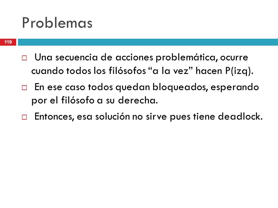 Problemas Una secuencia de acciones problemática, ocurre cuando todos los filósofos a la vez hacen P(izq).