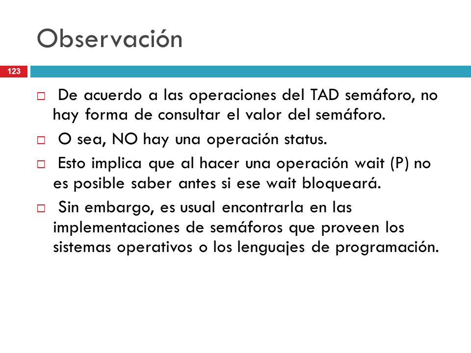 Observación De acuerdo a las operaciones del TAD semáforo, no hay forma de consultar el valor del semáforo.