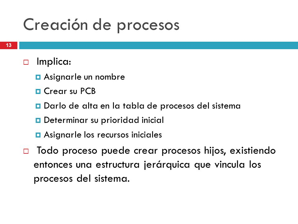 Creación de procesos Implica: