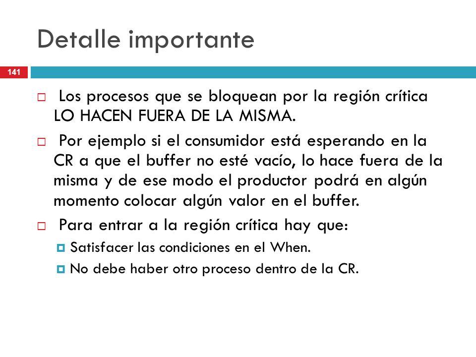 Detalle importante Los procesos que se bloquean por la región crítica LO HACEN FUERA DE LA MISMA.