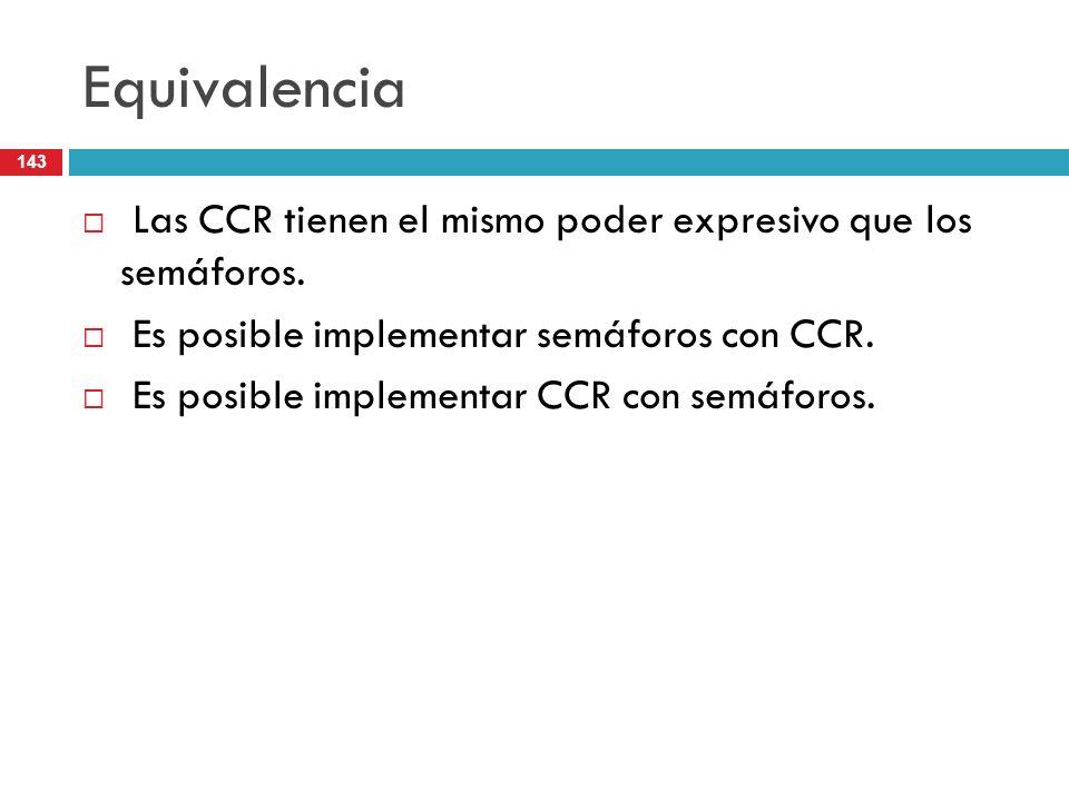 Equivalencia Las CCR tienen el mismo poder expresivo que los semáforos. Es posible implementar semáforos con CCR.