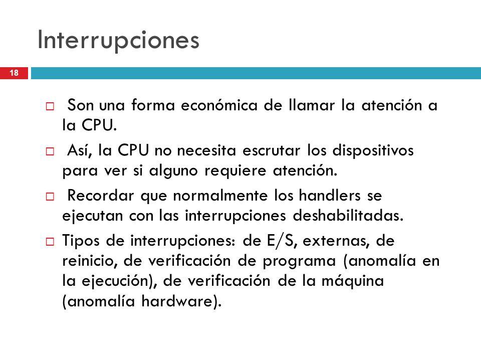 Interrupciones Son una forma económica de llamar la atención a la CPU.