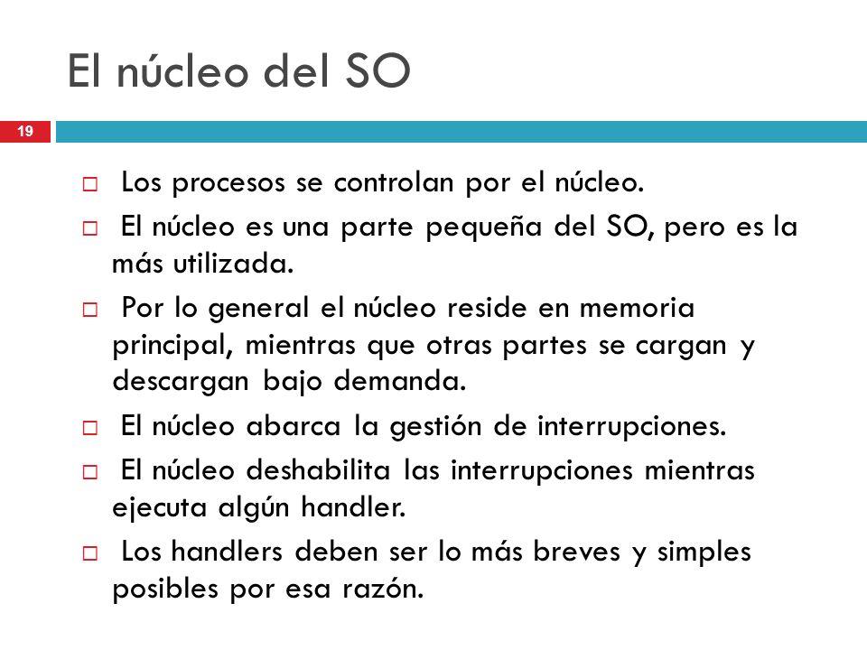 El núcleo del SO Los procesos se controlan por el núcleo.