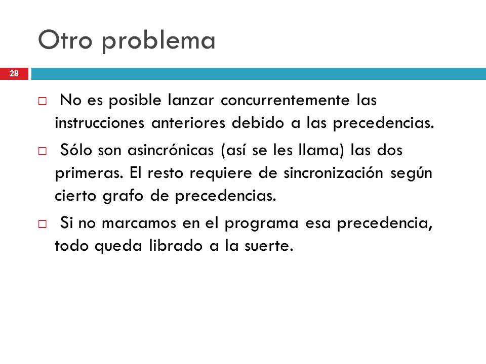 Otro problema No es posible lanzar concurrentemente las instrucciones anteriores debido a las precedencias.