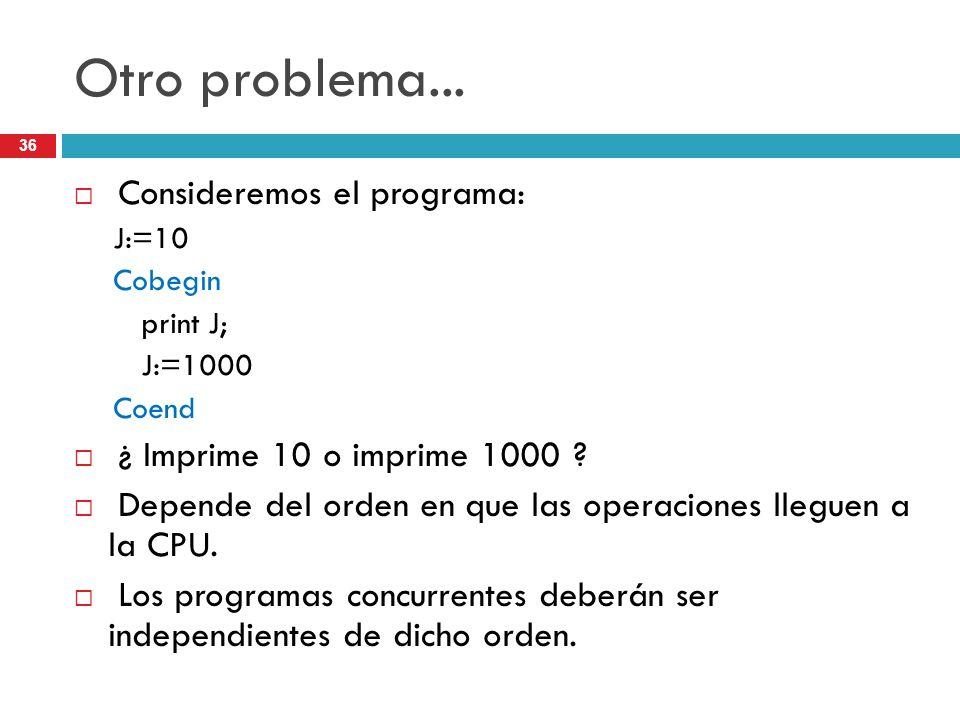 Otro problema... Consideremos el programa:
