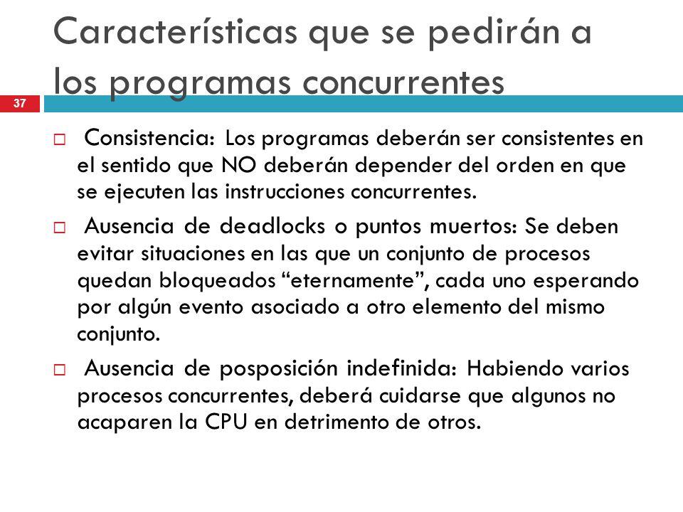 Características que se pedirán a los programas concurrentes