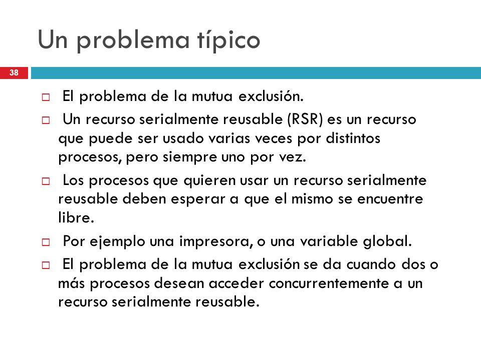 Un problema típico El problema de la mutua exclusión.