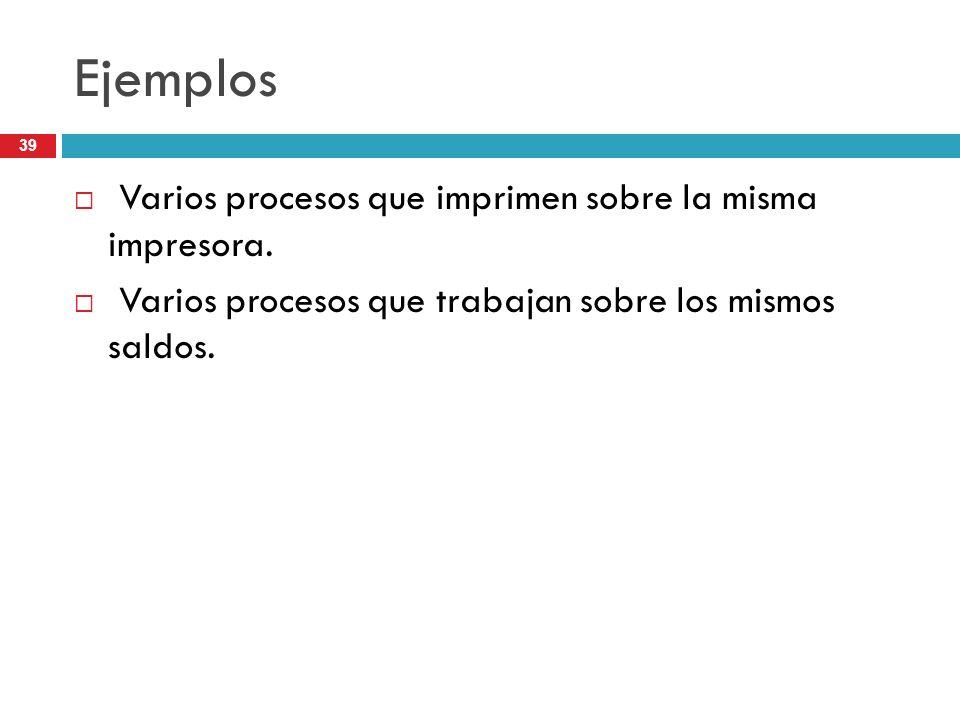 Ejemplos Varios procesos que imprimen sobre la misma impresora.