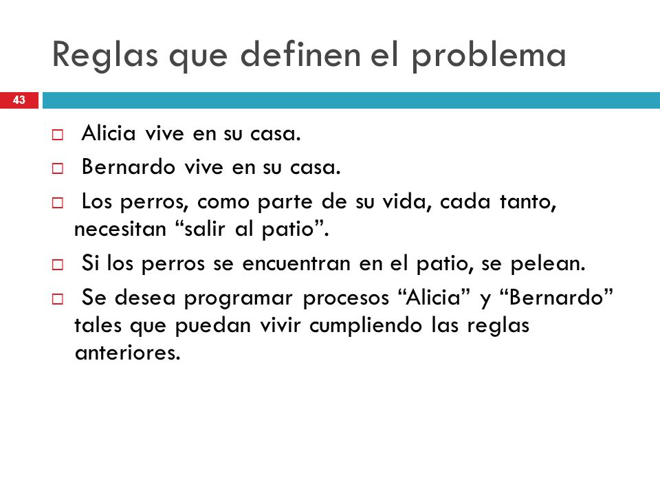 Reglas que definen el problema