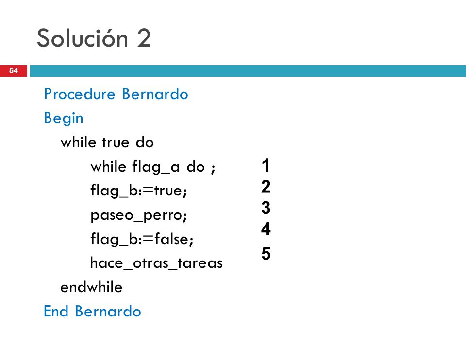 Solución 2 Procedure Bernardo Begin while true do while flag_a do ;