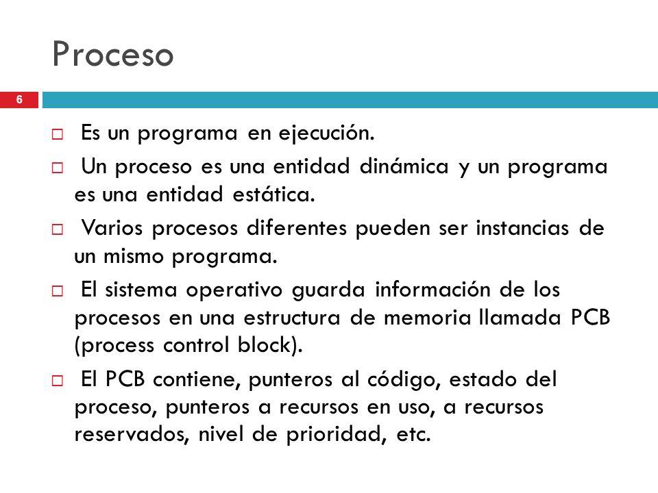 Proceso Es un programa en ejecución.