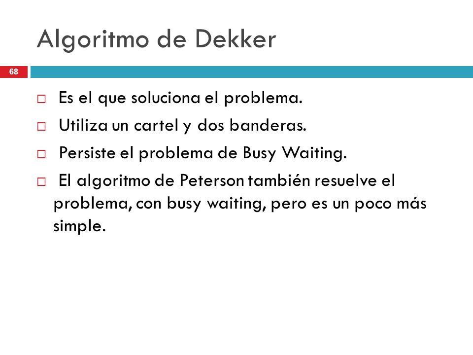 Algoritmo de Dekker Es el que soluciona el problema.