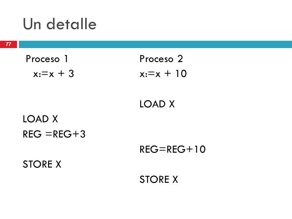 Un detalle Proceso 1 Proceso 2 x:=x + 3 x:=x + 10 LOAD X REG =REG+3