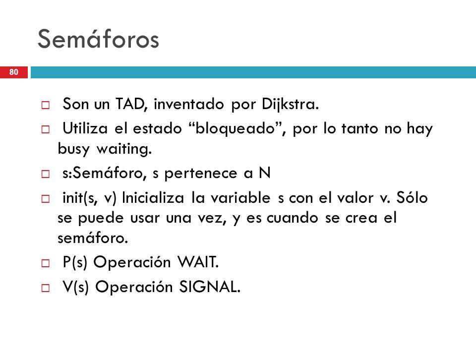 Semáforos Son un TAD, inventado por Dijkstra.