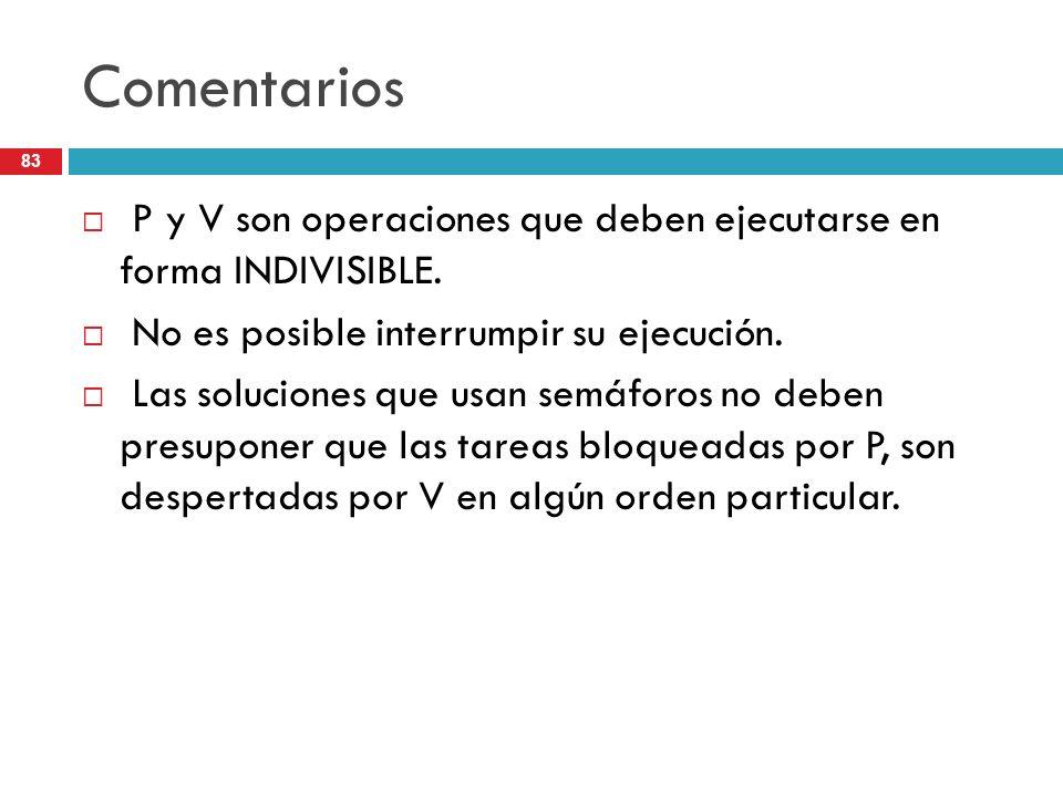 Comentarios P y V son operaciones que deben ejecutarse en forma INDIVISIBLE. No es posible interrumpir su ejecución.