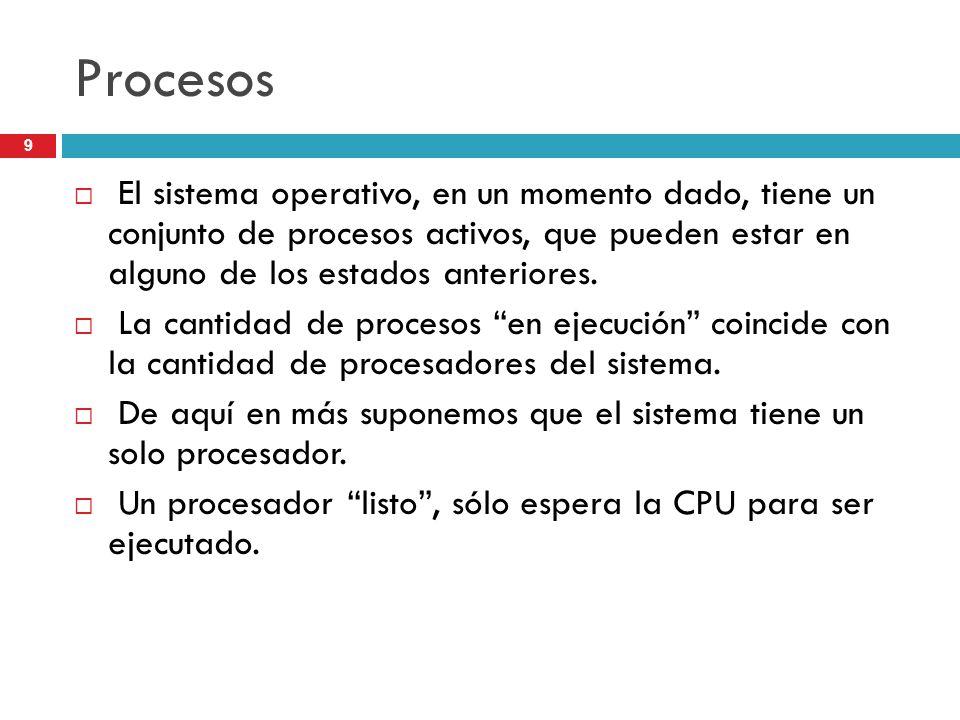 Procesos El sistema operativo, en un momento dado, tiene un conjunto de procesos activos, que pueden estar en alguno de los estados anteriores.