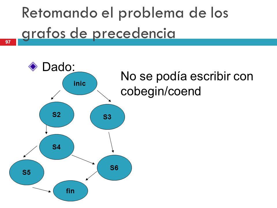 Retomando el problema de los grafos de precedencia