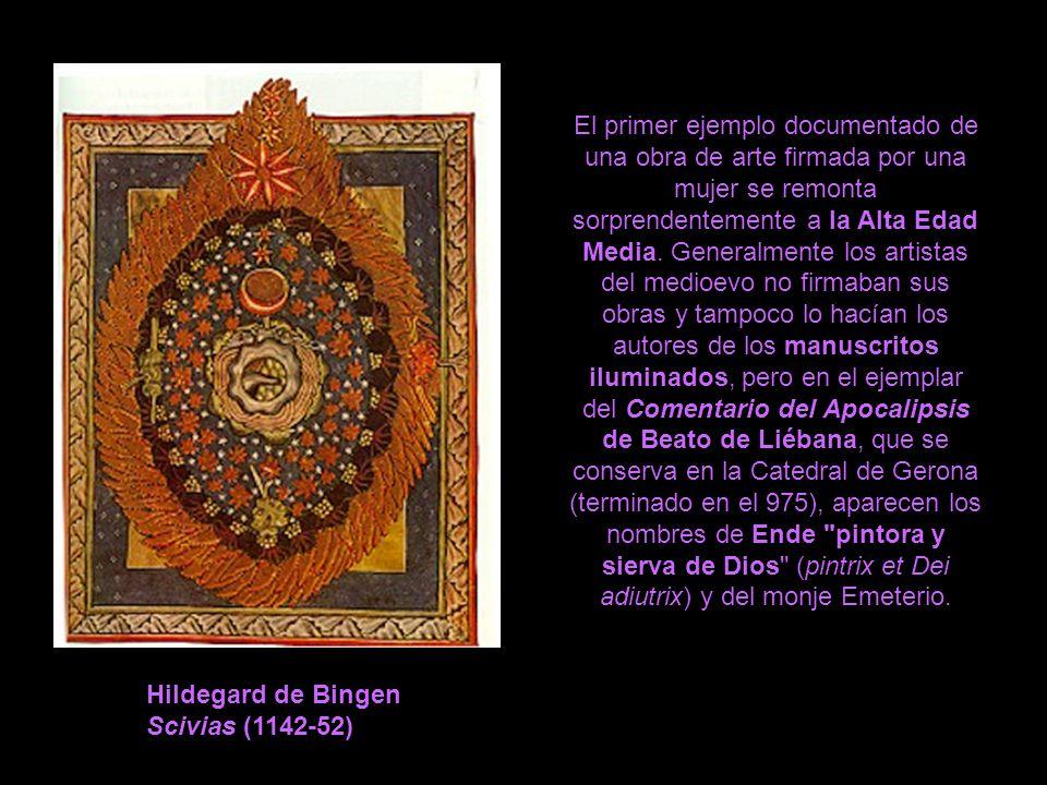 El primer ejemplo documentado de una obra de arte firmada por una mujer se remonta sorprendentemente a la Alta Edad Media. Generalmente los artistas del medioevo no firmaban sus obras y tampoco lo hacían los autores de los manuscritos iluminados, pero en el ejemplar del Comentario del Apocalipsis de Beato de Liébana, que se conserva en la Catedral de Gerona (terminado en el 975), aparecen los nombres de Ende pintora y sierva de Dios (pintrix et Dei adiutrix) y del monje Emeterio.
