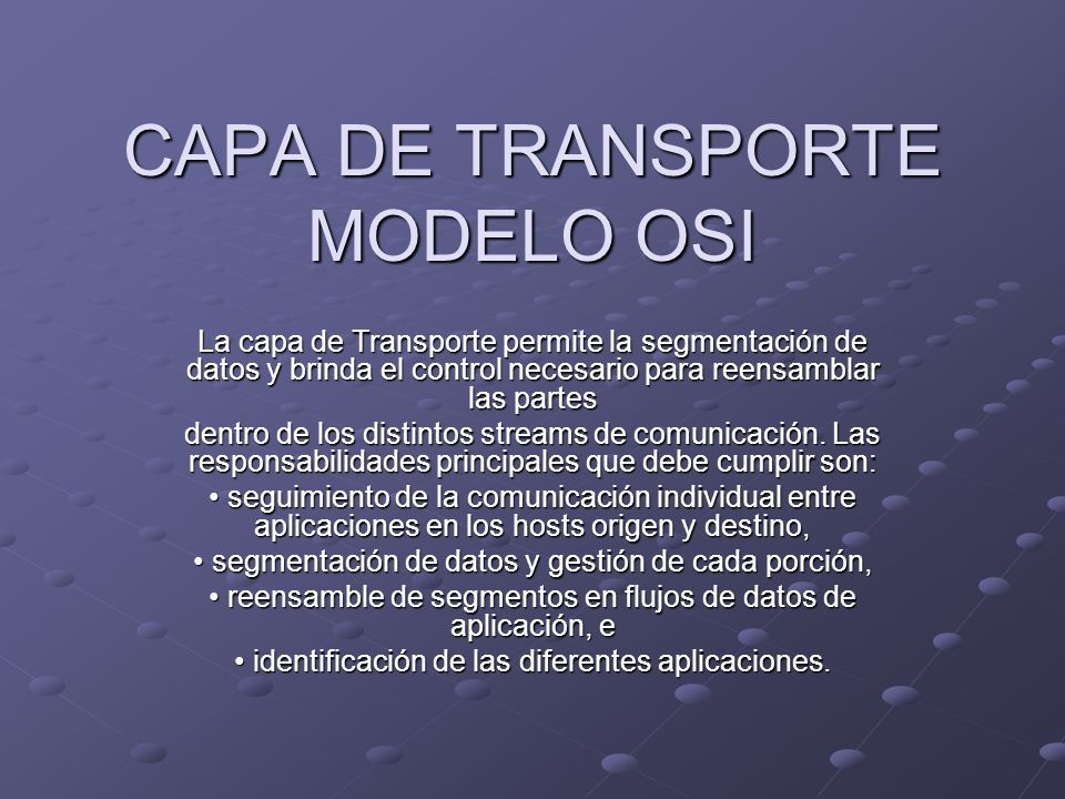 CAPA DE TRANSPORTE MODELO OSI