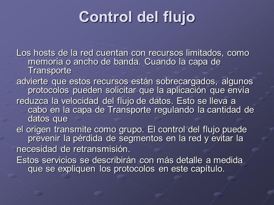 Control del flujo Los hosts de la red cuentan con recursos limitados, como memoria o ancho de banda. Cuando la capa de Transporte.