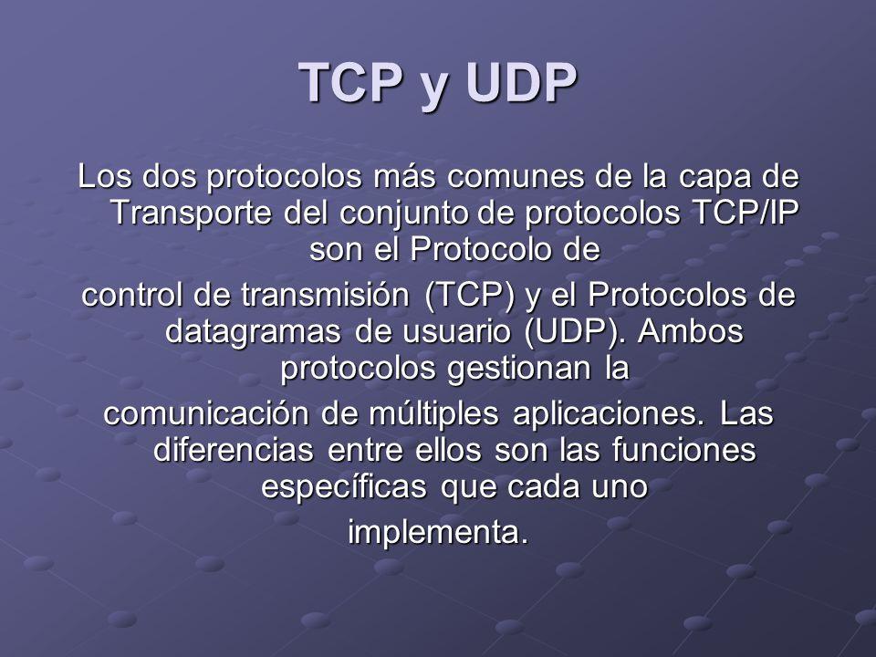 TCP y UDP Los dos protocolos más comunes de la capa de Transporte del conjunto de protocolos TCP/IP son el Protocolo de.