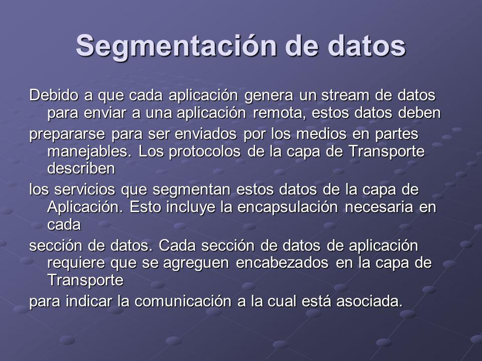 Segmentación de datos Debido a que cada aplicación genera un stream de datos para enviar a una aplicación remota, estos datos deben.