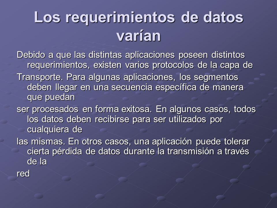 Los requerimientos de datos varían