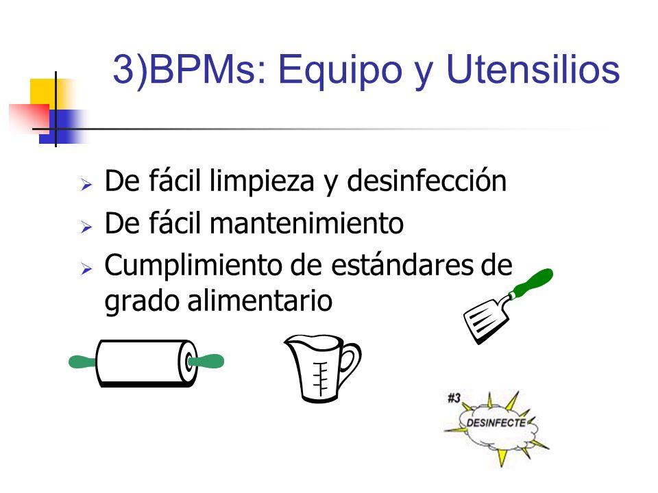 3)BPMs: Equipo y Utensilios
