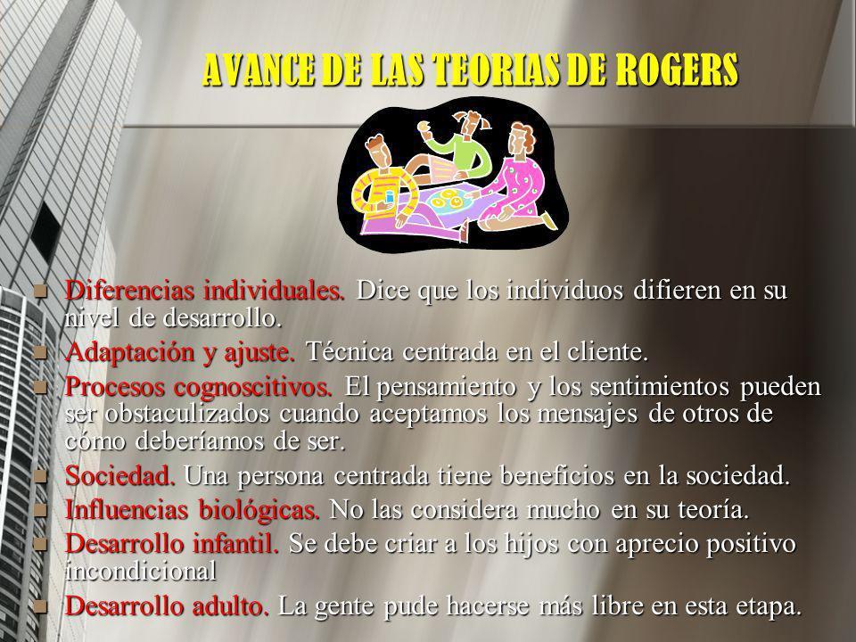 AVANCE DE LAS TEORIAS DE ROGERS