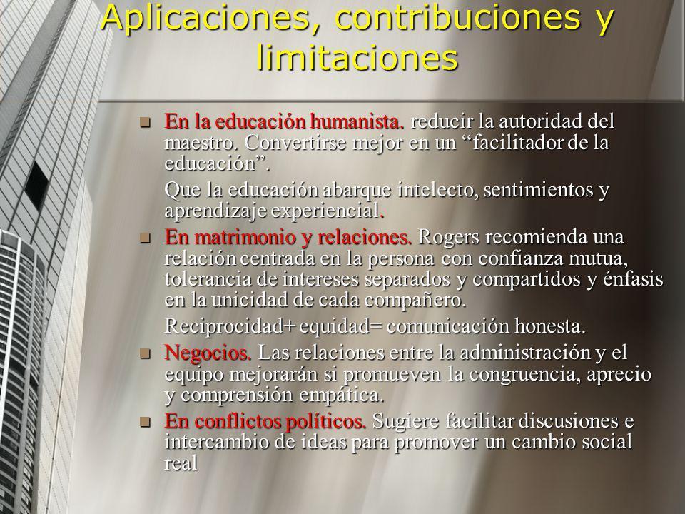 Aplicaciones, contribuciones y limitaciones