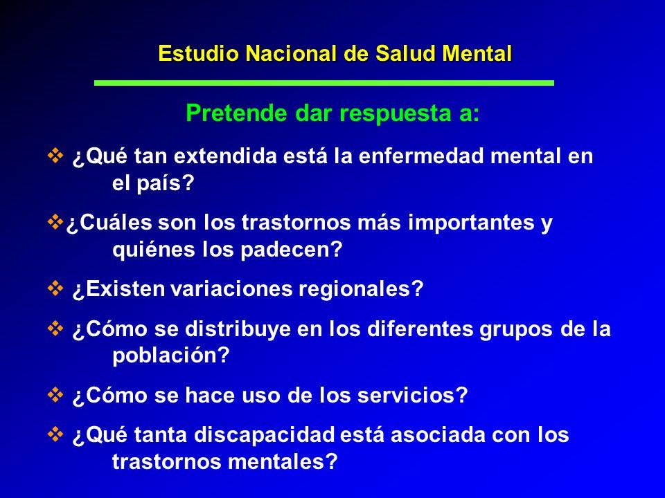 Estudio Nacional de Salud Mental Pretende dar respuesta a: