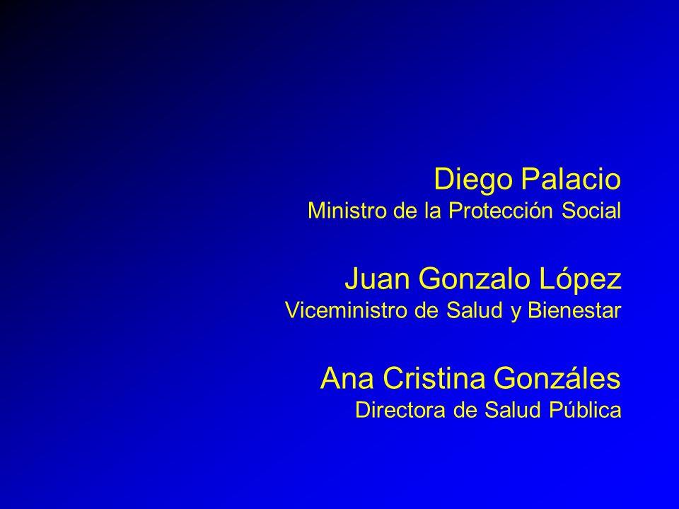 Diego Palacio Ministro de la Protección Social Juan Gonzalo López Viceministro de Salud y Bienestar Ana Cristina Gonzáles Directora de Salud Pública