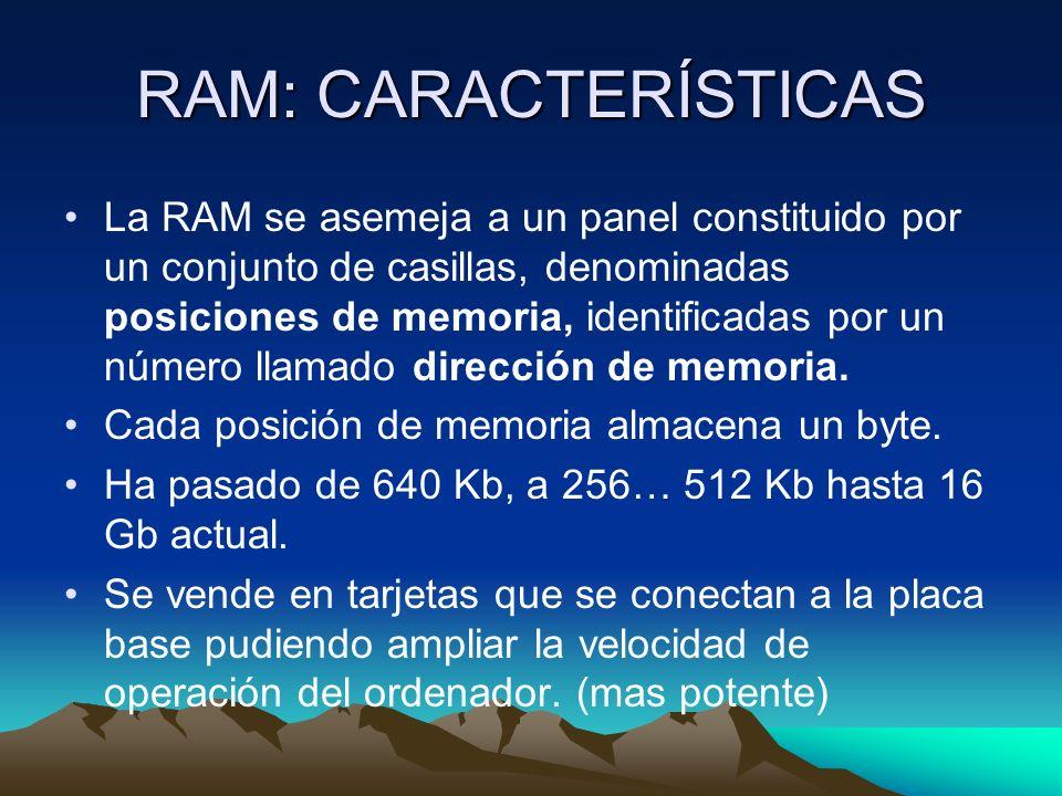 RAM: CARACTERÍSTICAS
